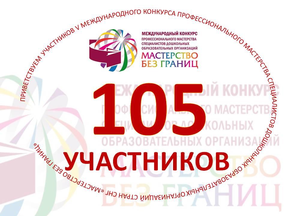 Приветствуем 105 Участников V Международного конкурса профессионального мастерства специалистов дошкольных образовательных организаций стран СНГ «Мастерство без границ»!